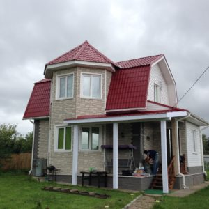 брусовой дом с эркером